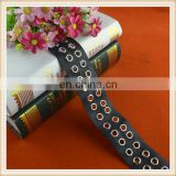 Latest black leather ribbon tape with eyelet ring custom blet leather webbing
