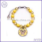 Glass Bead Yellow Dangle Charm Pet Jewelry Pet Necklace