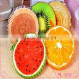 Hot sales 3D soft plush fruit shape pillow /bolster creative fruit foam chair seat cushion