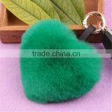 Real rabbit fur ball key chains heart shape fur balls for bag accessories