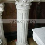 natural hand carved white color stone roman column