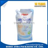 liquid detergent stand up pouch with spout/ liquid packaging plastic bag for hand washing liquid