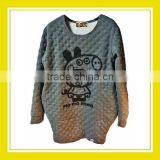 The New Summer Products Bros Baby Rinne Women Dobby Fabric Printed Long Sleeve Grey Sweater