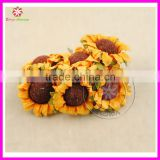 3-4cm Artificial paper sunflowers flower,fake sunflowers,tissue paper flowers for party table decorations,diy garland accessory