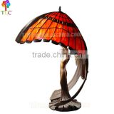 S9008-S Bronze sculpture tiffany style lamp table lighting gift art deco stained glass accent lamp wholesale china handcraft