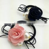 lovely pink rose flowers grass beads Ponytail Holder elastic hair bands for braiding