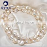 best quality white 13-15mm AAA grade nucleated baroque freshwater pearl string wholesale