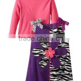 (CS812#)OEM Garment Supplier Animal Zebra Printed Corduroy Dress 2 piece set baby girl outfit winter clothing