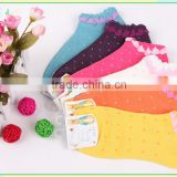 custom lace cuff women socks with colorful knit dot