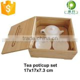 Bamboo tea pot cup box tray