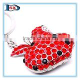 Beauty crystal keychain for female/exquisite metal crystal keyring with crystal for promotion