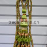 green tassel fringe with chain,beaded curtain tieback tassels