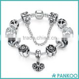 Custom 925 Sterling Silver Heart Sexy Charm Bracelet with Safety Chain & Black Beads for Women ,Bracelet Charm