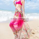 3 colors flower print swimsuit cover up rayon beach sarong