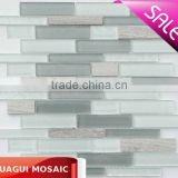 New type hot sale strip glass mix marble mosaic art mosaic tiles strip HG-CDT114