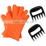 Grill BBQ Gloves Set / Heat Resistant Silicone Oven Gloves & 2 Meat Pork Shredders Bear Claws / silicone rubber oven gloves