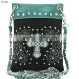 Rhinestone cross studded western ladies hipster cowgirl messenger bags