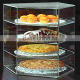 high class fahionable clear tall acrylic bread display case with lid and lock factory hot sale