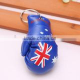 wholesale hot sell PVC leather Australia flag boxing glove keychain/Australian flag boxing glove keyring