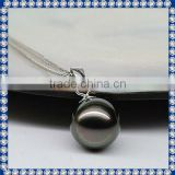 10-11mm AAA peacock 18k white gold tahitian black pearl necklace