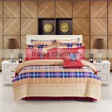 2014 hot sale 3d reactive printed fabric duvet cover comforter bedclothes plaid style 100% combed cotton bedding set