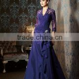 Sexy V-neckline appliqued beaded lace corset floor length long sleeve royal blue mother of the bride dress CWFam5255