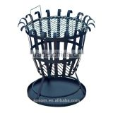 "Outsunny 19"" Black/Silver Cast Iron and Steel Outdoor Fire Pit Basket Grill"