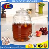 Clear Glass Beverage Dispenser glass Jar with tap glass lid