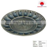 stainless steel round tray with antique brass surface/metal fruit tray/stainless steel fruit tray
