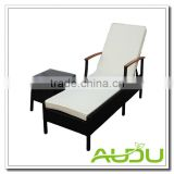 Audu Napoli Black Rattan Sun Loungers With Wood handle