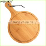 Round Shape Bamboo Pizza Board with Handle and Groove/Pizza Cutting Board/Homex_FSC/BSCI Factory