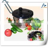Black stainless steel salad spinner