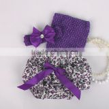 wholesale adorable baby diaper and crochet tube top3 sets , satin baby bloomers, baby ruffle bloomers