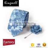 Blue floral digital print silk&polyester necktie with low MOQ