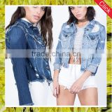 Guangzhou clothing factory wholesale female fitted ripped jeans jacket women wear raw hem cutting off denim jackets
