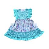 2017baby clothes european girls party dress flutter sleeve scale print and fish princess pattern dress
