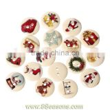"Wood Painting Sewing Buttons Scrapbooking Round 2 Holes Mixed Christmas Pattern Print 15mm( 5/8"") Dia,200PCs,Bulk"