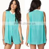 hot selling latest designed studded flat collar sleeveless plain blue chiffon tunic wholesale women fashion chiffon blouse