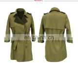 Guangzhou Supplier Waist Belt Fashion Trench Suede Women Coats