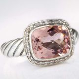 Sterling Silver 10mmx8mm Morganite Noblesse Ring for Women