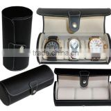 Leatherette Roll Traveler's Watch Storage Organizer for 3 Watch or Bracelets
