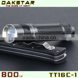 DAKSTAR TT16C-1 LED 800LM CREE XML T6 18650 Aluminum Police Emergency Rechargeable Mini Multifunction Flashlight