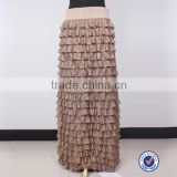 Women Clothing golden knitted skirt for woman flounced long maxi skirt Ladies Wear Skirt