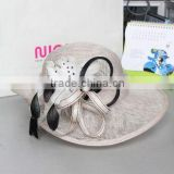 Elegant White Sinamay Wedding Hat for Ladies