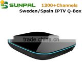 Android 5.1 S905 iptv receiver Q BOX with iptv apk account for USA French Sweden Sport IPTV Box