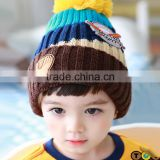 2015 Autumn Winter Newest Four Color Mixed Baseball Cup Applique Pom Pom Style Kids Knitted Wool Hat