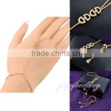 New and hot selling chain palm crystal gold finger ring bracelet