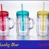Plastic acrylic double wall Mason Jar beer mugs with PVC paper insert,handle and straw