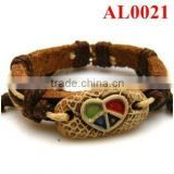Genuine leather bracelet braid with brown&beige cord and natural ox bone carved heart shapes AL0021