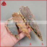 Large 5 Inches 24k Gold Layered Edge Tan Jasper Arrowhead Pendant Gold Electroplated Edge Jasper Arrowhead Pendants
